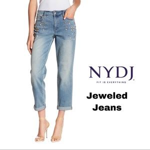 NYDJ Boyfriend Jeweled Blue Jeans
